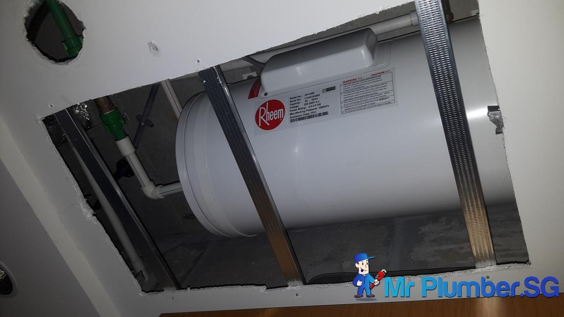 Replace Rheem Storage Water Heater False Ceiling Repair
