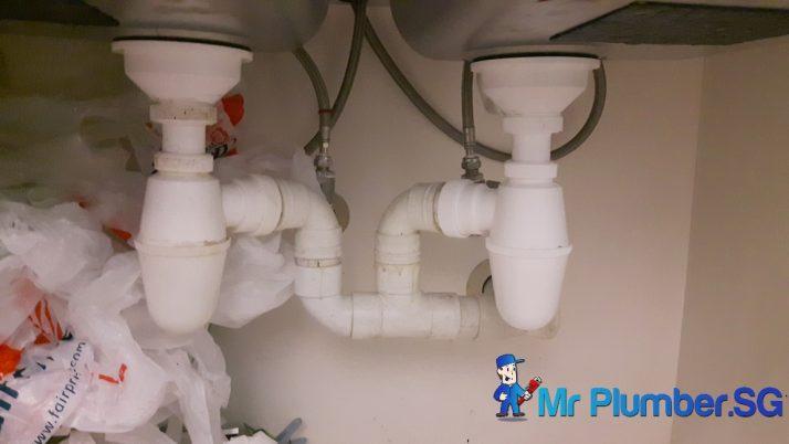 Clear Kitchen Sink Bottle Trap Choke Plumber Singapore Condo Marina Boulevard