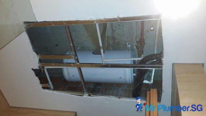 Joven Storage Water Heater Installation With False Ceiling Repair, Plumber Singapore, Landed Tanah Merah