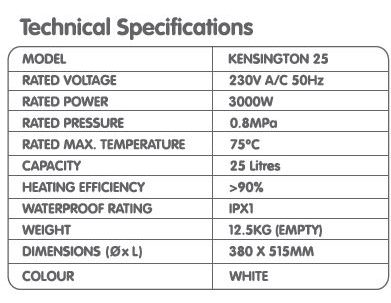 707 Kensington Storage Water Heater 25L