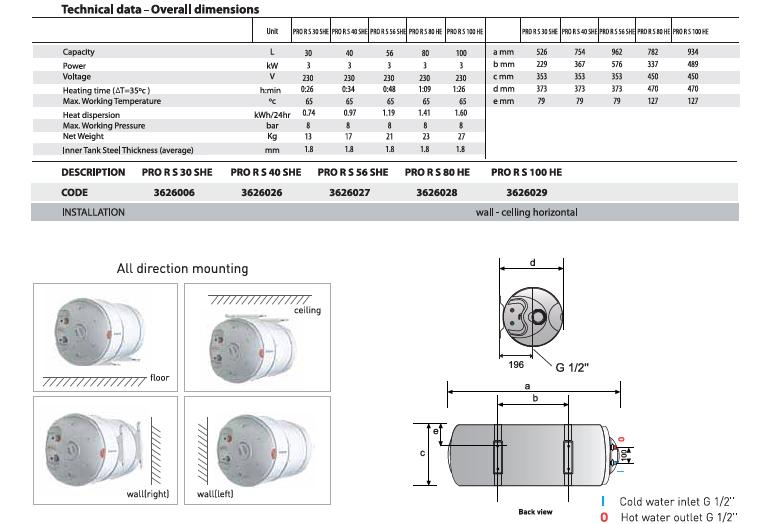 Ariston Pro R Slim 56L Storage Water Heater